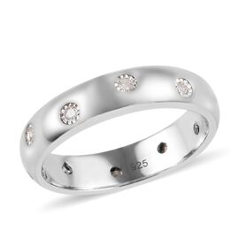 Diamond Flush Setting Band Ring in Platinum Plated Sterling Silver