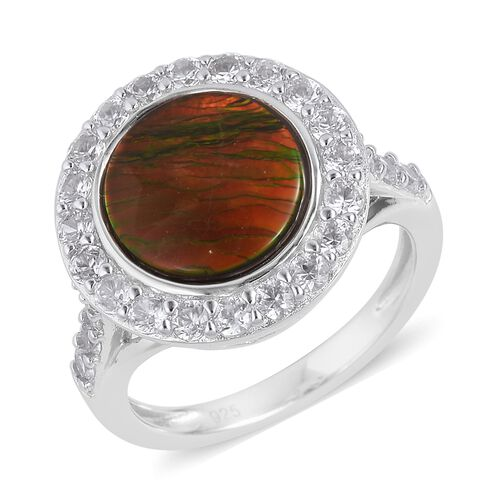AA Canadian Ammolite (Rnd 10mm), Natural White Cambodian Zircon Ring in Rhodium Plated Sterling Silver 3.850 Ct.
