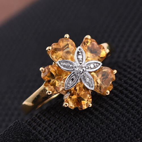 Citrine (Hrt), Diamond Floral Ring in 14K Gold Overlay Sterling Silver 2.260 Ct.