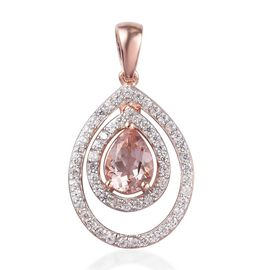 1.75 Ct Marropino Morganite and Zircon Halo Pendant in Rose Gold Plated Sterling Silver