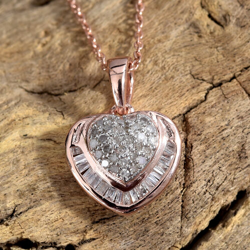 Diamond (Rnd and Bgt) Heart Pendant With Chain (Size 20) in Rose Gold Overlay Sterling Silver 0.330 Ct.