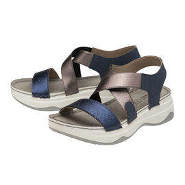 Lotus Moderna Open-Toe Sandals - Navy & Pewter