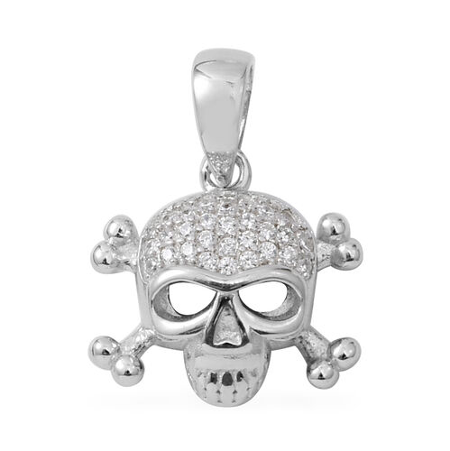 ELANZA Simulated Diamond (Rnd) Skull Pendant in Rhodium Overlay Sterling Silver