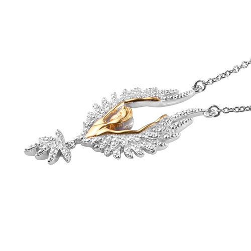 Diamond Necklace (Size 18) in Platinum and Yellow Gold Plated and Stainless Steel
