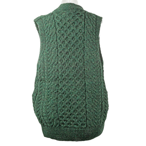 Carraig Donn  100% Wool Knitted Men Gilet with Pocket and Buttons - Green - S size