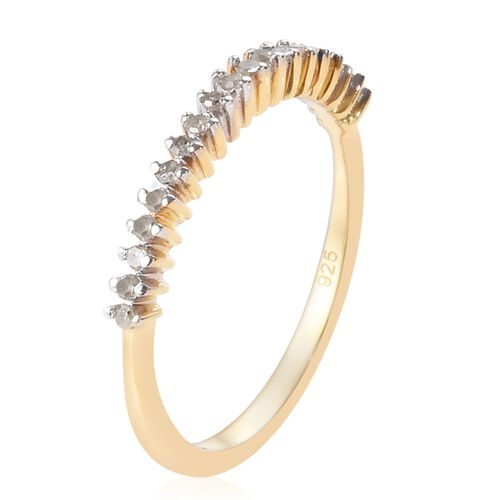 Diamond Stackable Half Eternity Ring in 14K Gold Overlay Sterling Silver 0.150 Ct.