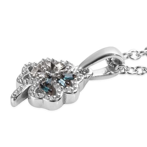 Blue and White Diamond Leaf Pendant with Chain (Size 18) in Platinum Overlay Sterling Silver 0.04 Ct.