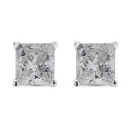 NY Close Out - 14K White Gold Diamond (Princess) (I1-I2/G-H) Earrings (with Push Back) 1.000 Ct.