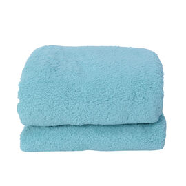 Soft Sherpa Blanket with Brush on Backside (Size 200x230 Cm) - Turquoise Colour