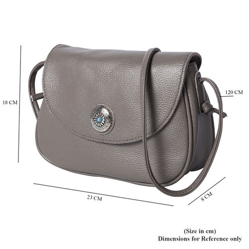 Super Soft 100% Genuine Leather Middle Size Litchi Pattern Crossbody Bag (Size 23x8x18cm) - Grey