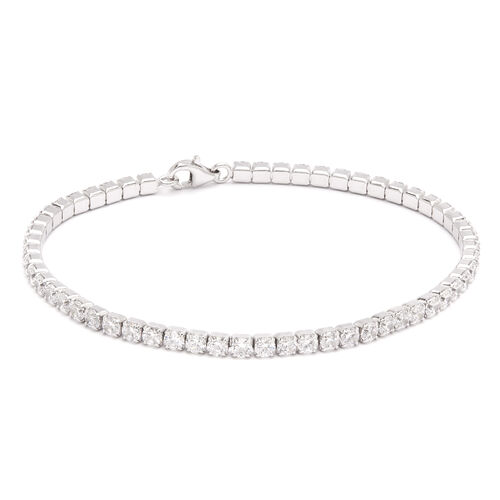 ELANZA AAA Round Brilliant Cut Simulated Diamond Tennis Bracelet (Size 7.5) in Sterling Silver, equivalent diamond wt. 3.00 Ct.