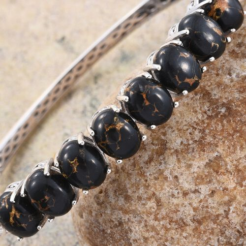 Arizona Mojave Black Turquoise (Ovl) Bangle (Size 7.5) in Platinum Overlay Sterling Silver 18.000 Ct.