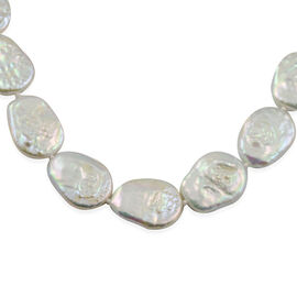 White Baroque Pearl Coin Beaded Necklace in Rhodium Plated Sterling Silver 24 Inch