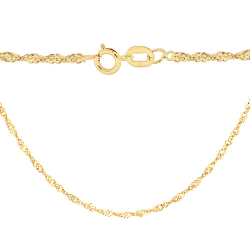 Yellow Gold Overlay Sterling Silver Twisted Curb Chain (Size 20)