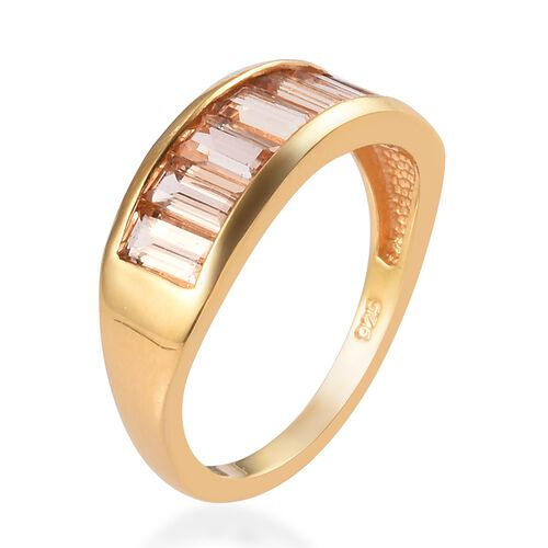 Golden Imperial Topaz Half Eternity Band Ring in 14K Gold Overlay Sterling Silver 1.75 Ct.