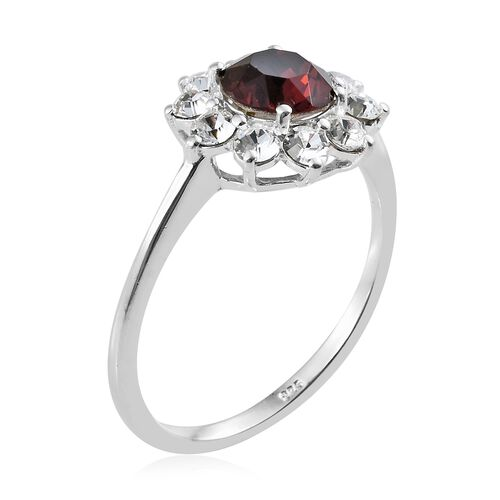 J Francis Crystal from Swarovski - Burgundy Crystal (Rnd), White Crystal Flower Ring in Sterling Silver