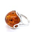 Natural Baltic Amber Ring (Size R) in Sterling Silver