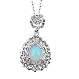 Ethiopian Welo Opal (Pear), Natural Cambodian Zircon Pendant With Chain (Size 20) in Platinum Overla