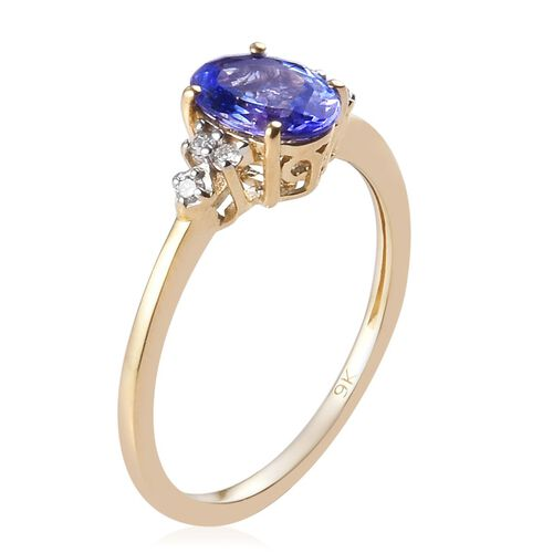 9K Yellow Gold Tanzanite and Natural Diamond Ring 1.05 Ct.