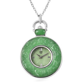 Green Jade Swiss Movement Watch with Chain (Size 32) in Rhodium Overlay Sterling Silver and Stainles