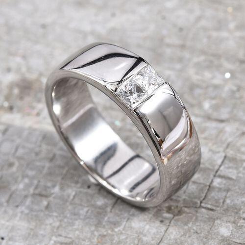 RHAPSODY 950 Platinum IGI Certified Diamond (Sqr) (VS/E -F) Ring 0.30 Ct, Platinum wt 10.88 Gms.