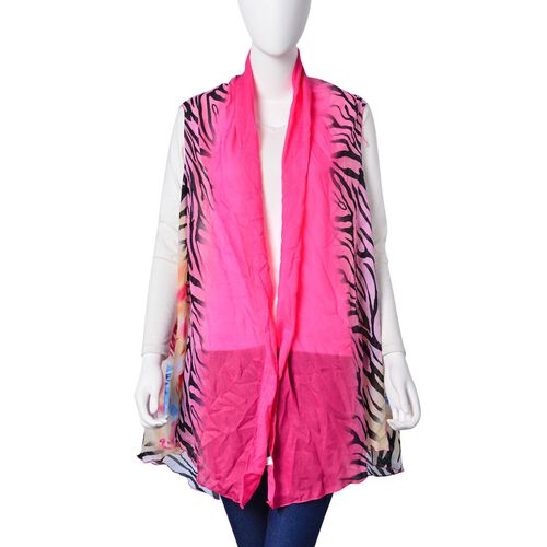 Pink and Multi Colour Zebra and Floral Printed Poncho (Free Size)