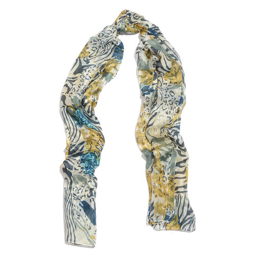 100% Mulberry Silk Blue, Grey and Multi Colour Handscreen Leopard and Zebra Printed Scarf (Size 175X100 Cm)