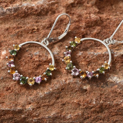 Rainbow Tourmaline (Rnd) Lever Back Earrings in Platinum Overlay Sterling Silver 1.750 Ct.
