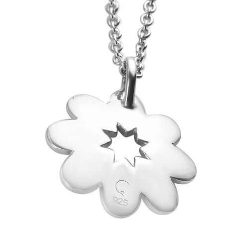 RACHEL GALLEY Platinum Overlay Sterling Silver Floral Pendant with Chain, Silver wt. 11.21 Gms