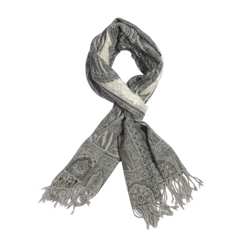 100% Merino Wool Jacquard Weaving Paisley Pattern Grey and White Colour Scarf with Fringes (Size 175x70 Cm), Weight 200 Gram