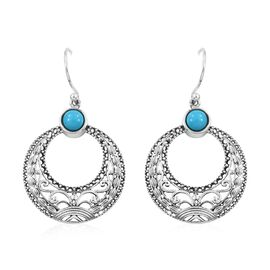 Artisan Crafted Arizona Sleeping Beauty Turquoise (Rnd) Hook Earrings in Sterling Silver 1.020 Ct, S