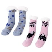 Set of 2 Pairs - Warm and Soft Pink and Black Colour Cat Pattern and Grey and Brown Edgehog Pattern Socks with Sherpa Lining (Size 4 to 8)