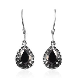 Elite Shungite (Pear) Drop Hook Earrings in Platinum Overlay Sterling Silver 1.75 Ct.