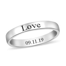 Personalised Engravable Plain 3mm Band Ring in 9K White Gold