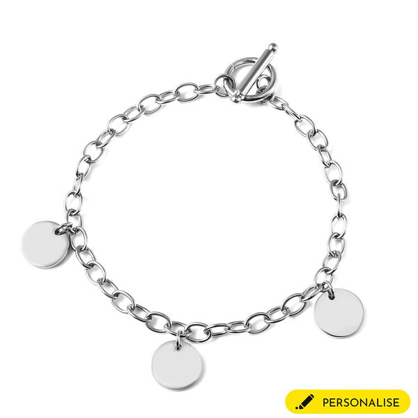 Personalise Engravable 3 Disc Charm Bracelet, in Stainless Steel 8.5inches