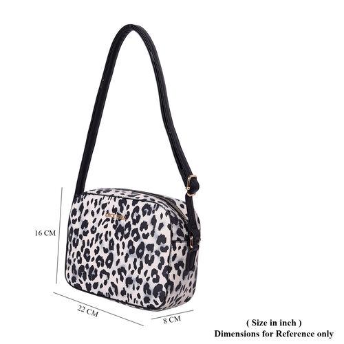LOCK SOUL Cream and Black Leopard Pattern Crossbody Bag