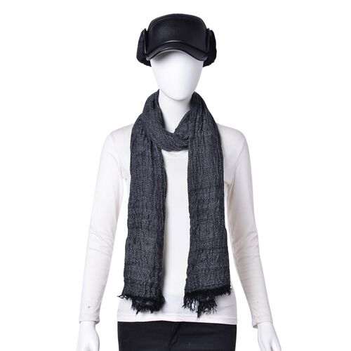 Black Colour Scarf (Size 200X62 Cm) with Free Black Colour Hat