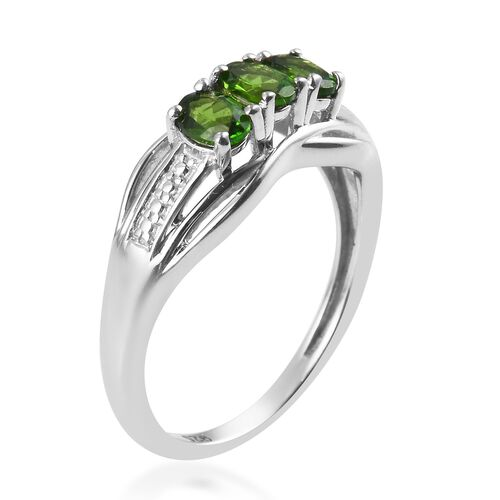 One Time Deal- Russian Diopside Ring in Platinum Overlay Sterling Silver
