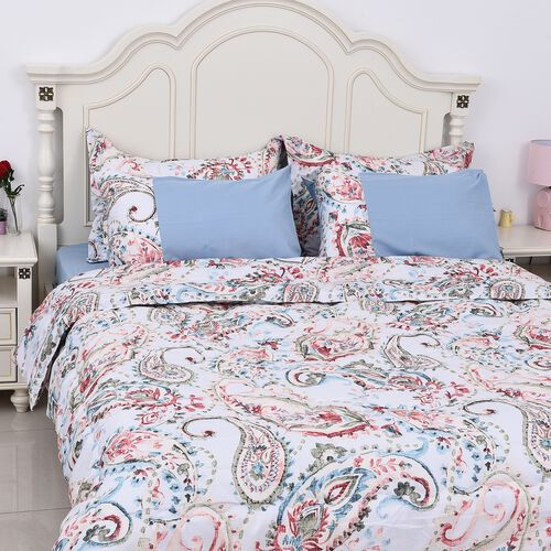 Set of 6 - Paisley Pattern Comforter, Fitted Sheet, 2 Pillow Case and 2 Envelope Pillow Case (Size K