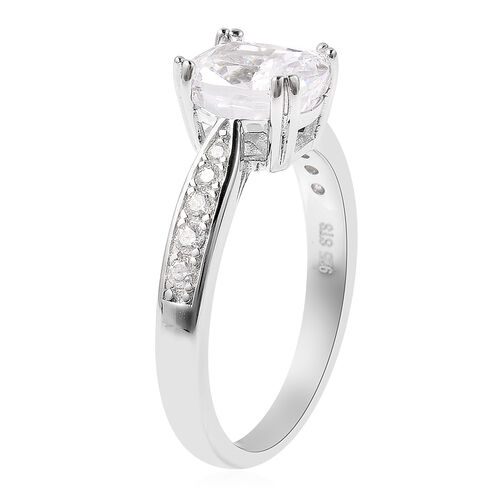 Lustro Stella - Simulated White Diamond Ring in Platinum Overlay Sterling Silver 4.32 Ct.
