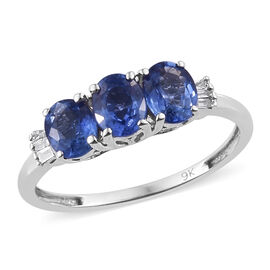 9K White Gold AA Royal Ceylon Sapphire (Ovl), Diamond Ring 1.250 Ct