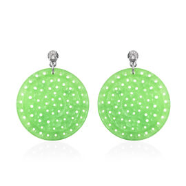 Green Jade and Natural Cambodian Zircon Earrings in Rhodium Overlay Sterling Silver 59.05 Ct.