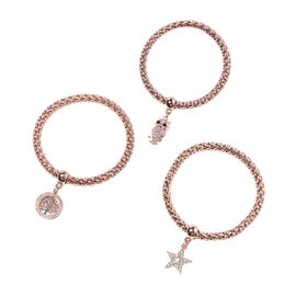Designer Inspired 3 Piece Set - White Austrian Crystal Star, Owl and Tree of Life Charm Stretchable Bracelet (Size 7.5) - Rose Gold Plated