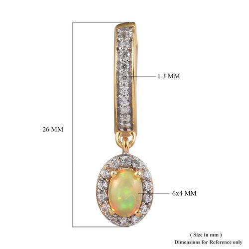 AA Ethiopian Welo Opal and Natural Cambodian Zircon Earrings (with Clasp) in 14K Gold Overlay Sterling Silver 1.25 Ct.