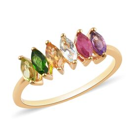 African Ruby, Russian Diopside, Peridot and Multi Gemstone 6-Stone Ring in 14K Gold Overlay Sterling