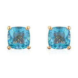 Paraiba Topaz (Cush) Stud Earrings (with Push Back) in 14K Gold Overlay Sterling Silver 2.500 Ct.