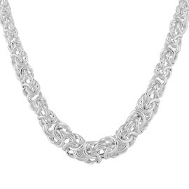 Italian Made - Sterling Silver Graduated Byzantine Necklace (Size 18 with 2 inch Extender), Silver w