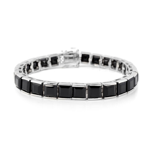 65.78 Ct Boi Ploi Black Spinel Tennis Bracelet in Rhodium Plated Silver 19.70 grams 7.5 Inch