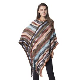 Designer Inspired-Brown and Multi Colour Stripe Pattern Poncho with Tassels (Size 90x60 Cm)