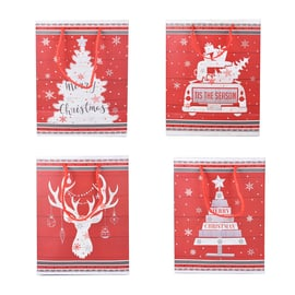 Set of 12 - Christmas Theme Gift Bags & Tags (Large-31x12x42Cm, Medium-26x12x32Cm, Small-18x10x23Cm)